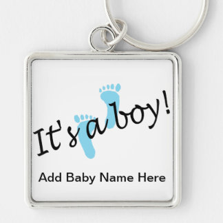 Its A Boy Silver-Colored Square Key Ring