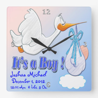 It's A Boy - Stork Keepsake Wall Clock
