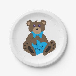 It's a boy!! Teddy 7 Inch Paper Plate