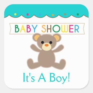 It's A Boy, Teddy Bear Baby Shower Square Sticker