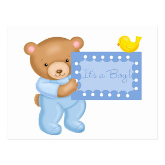 It's a boy - teddy bear postcard