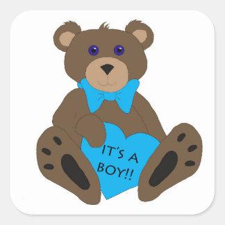 It's A Boy!! Teddy Bear Square Sticker
