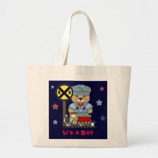 It's a Boy Teddy Bear Train Jumbo Tote Bag