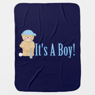 It's a Boy Teddy Bear Swaddle Blanket