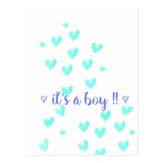 IT'S A BOY - Teel & Blue watercolour hearts design Postcard