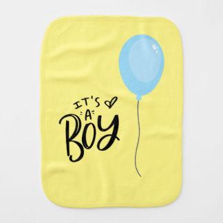 It's A Boy with Blue Balloon Burp Cloth
