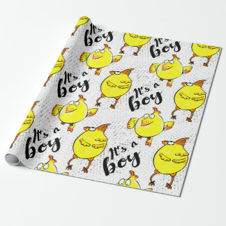 """""""It's a boy"""" with cute doodle chickens Wrapping Paper"""