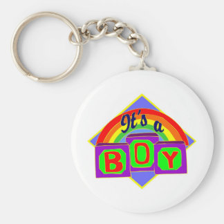 It's a boy with rainbow colors basic round button key ring