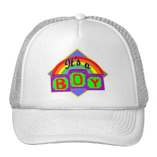 It's a boy with rainbow colors trucker hats