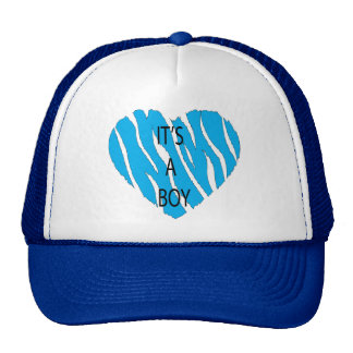 It's A Boy Zebra Heart Cap