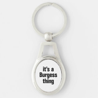 its a burgess thing Silver-Colored oval keychain
