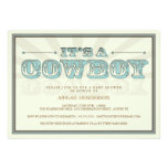 It's a Cowboy Country Baby Shower Blue Invitation
