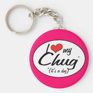 It's a Dog! I Love My Chug Basic Round Button Key Ring