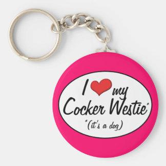 It's a Dog! I Love My Cocker Westie Basic Round Button Key Ring