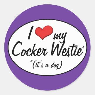 It's a Dog! I Love My Cocker Westie Round Sticker