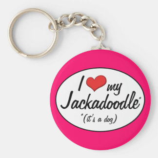 It's a Dog! I Love My Jackadoodle Basic Round Button Key Ring