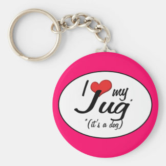 It's a Dog! I Love My Jug Key Ring