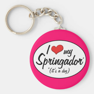 It's a Dog! I Love My Springador Basic Round Button Key Ring