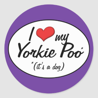 It's a Dog! I Love My Yorkie Poo Round Stickers