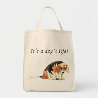 It's a dog's life Funny Cute Beagle Dog Art quote Tote Bag