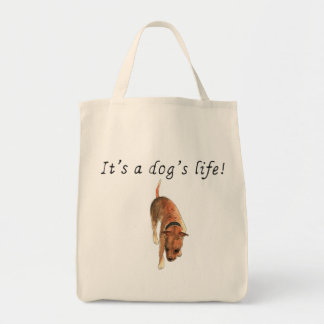 It's a dogs life Staffie Watercolour Dog Art Quote Tote Bag