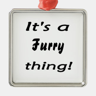 It's a furry thing! Silver-Colored square decoration