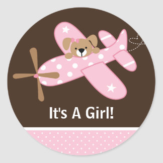 It's A Girl Airplane Baby Birth Announcement Round Stickers