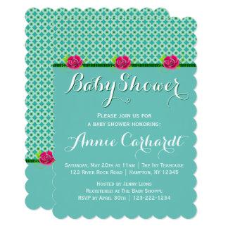 It's a Girl | Aqua Polka Dot Pink Rose Baby Shower Card