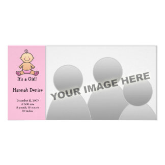 It's A Girl! Baby Birth Announcements Photo Card Template