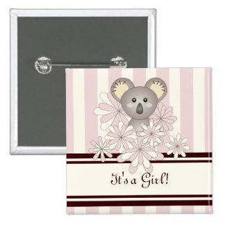 Its A Girl Baby Shower Cute Animal Koala Pink 15 Cm Square Badge