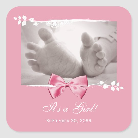 Its a Girl Baby Shower Elegant Birth Announcement