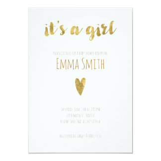 It's a Girl Baby Shower Invitation with Gold Foil