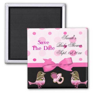It's A Girl Baby Shower Pink & Gold Bling Fridge Magnet