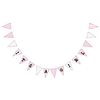 Its a Girl Baby Shower Pink Stripe and Dots Banner