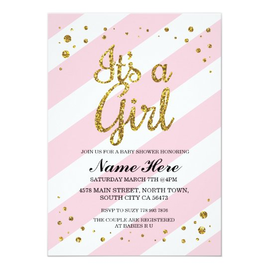It's a Girl Baby Shower Pink Stripe Gold