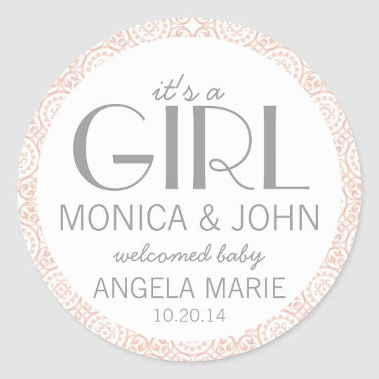 It's a Girl Birth Announcement Envelope Seal Round