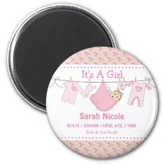 Its a Girl Birth Announcement Magnet - ClothesLine