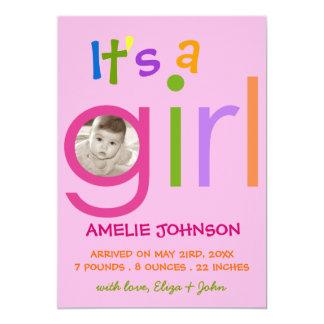It's a Girl Birth Announcement Photo card