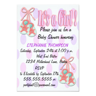 It's a Girl - Booties Baby Shower Invitations