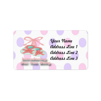 It's a Girl Booties Birth Announcement Address Lab Address Label