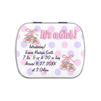 It's a Girl Booties Birth Announcement Candy Tins
