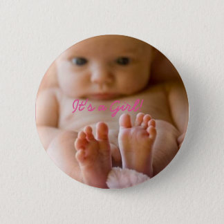 It's a Girl Button with cute baby