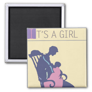 <It's a Girl> by Steve Collier Square Magnet