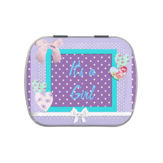 It's a Girl Candy Tin Purple and Pink with Blue