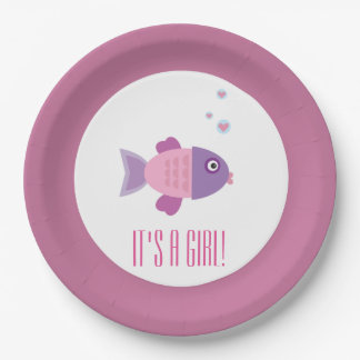 It's a Girl Cartoon Fish Gender Reveal Baby Shower Paper Plate