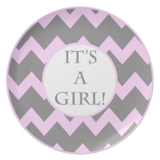 Its A Girl Chevron Milestone Plate