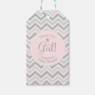 Its a Girl Chevron Pink Grey Gray Baby Shower Gift Tags