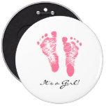 Its a Girl Chic Pink Newborn Footprints 6 Cm Round Badge