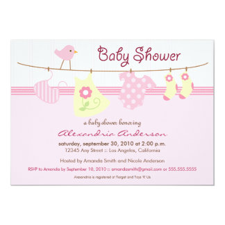"It's a Girl! Clothesline Baby Shower Invitation 5"" X 7"" Invitation Card"
