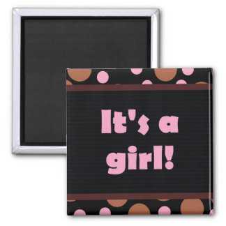It's a girl! Colorful Dots design dark pink Square Magnet